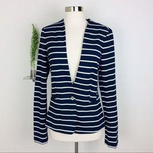 Banana Republic Womens Stylish Blue Striped Blazer
